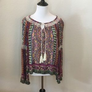 Patrons of Peace off shoulder/boho bell sleeves- M
